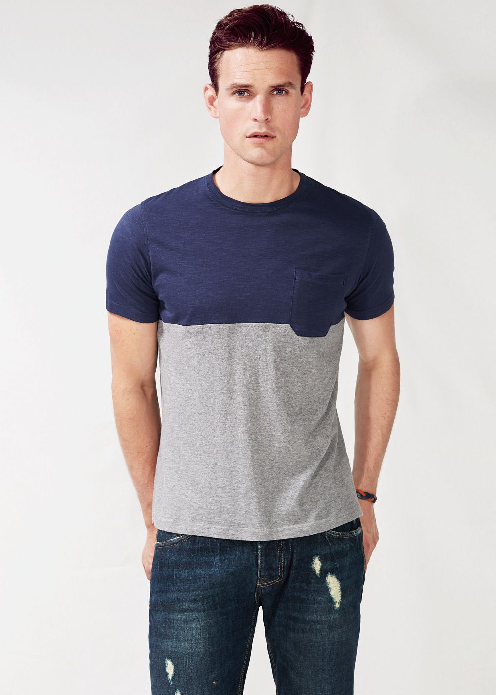 Chest-pocket bicolor t-shirt