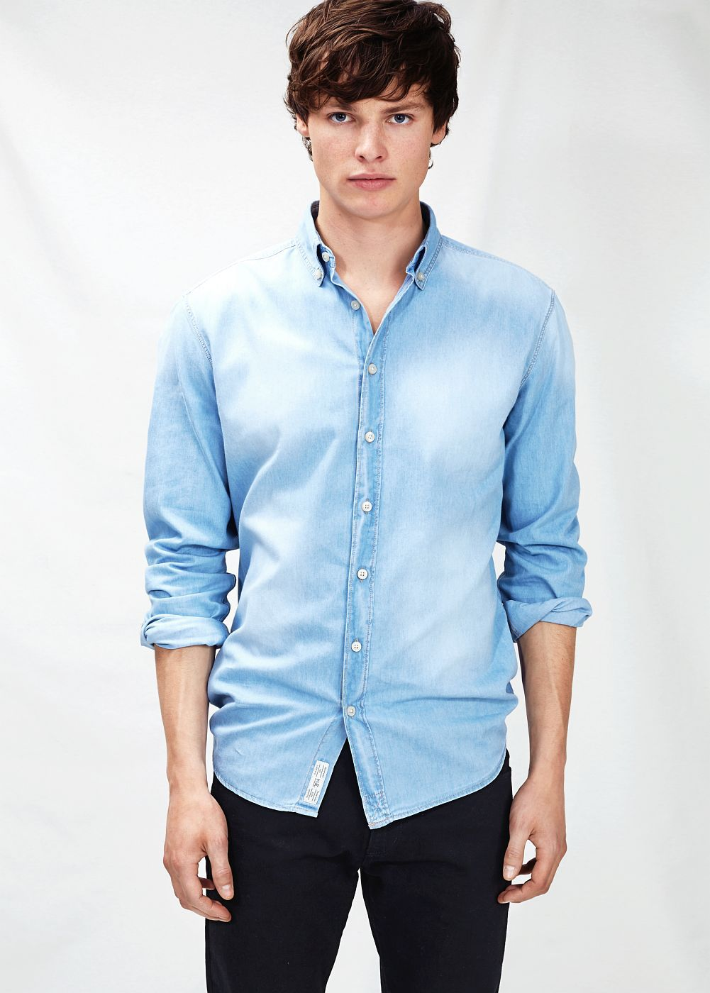 Slim-fit bleached denim shirt