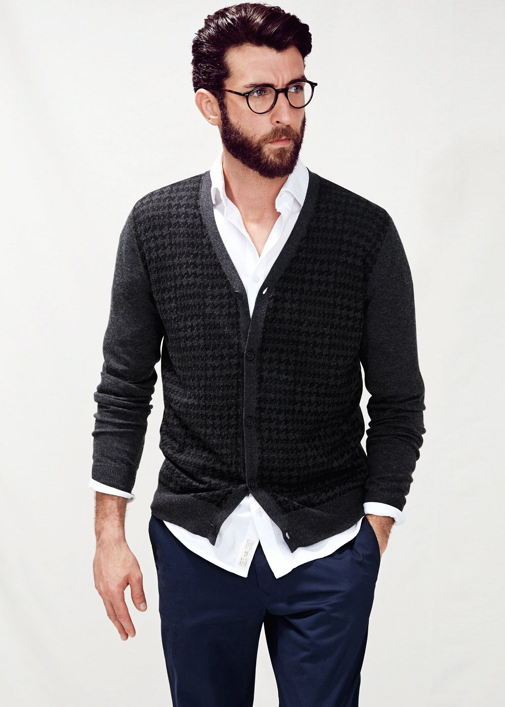 Houndstooth wool-blend cardigan