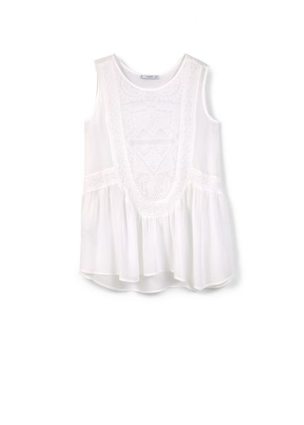 Mango Embroidered panel top