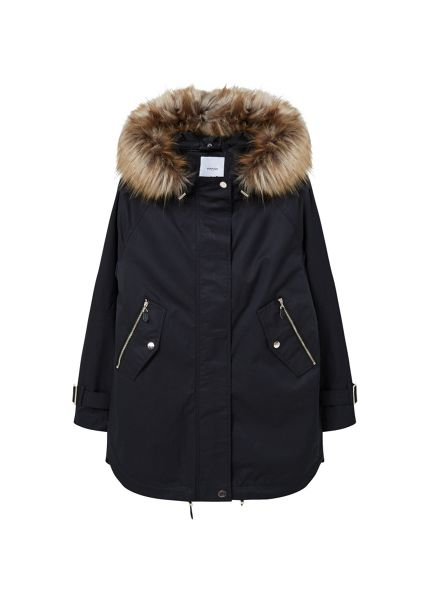 Mango Faux fur applique quilted parka