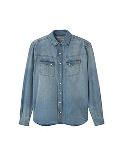 Slim-fit light denim shirt