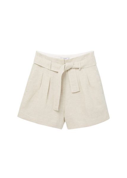 Mango Cotton linen-blend shorts