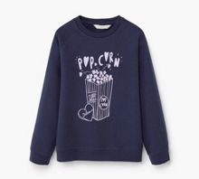Mango Girls Printed plush cotton sweatshirt
