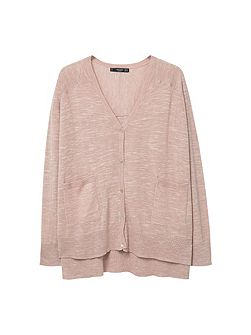 Flecked fine-knit cardigan