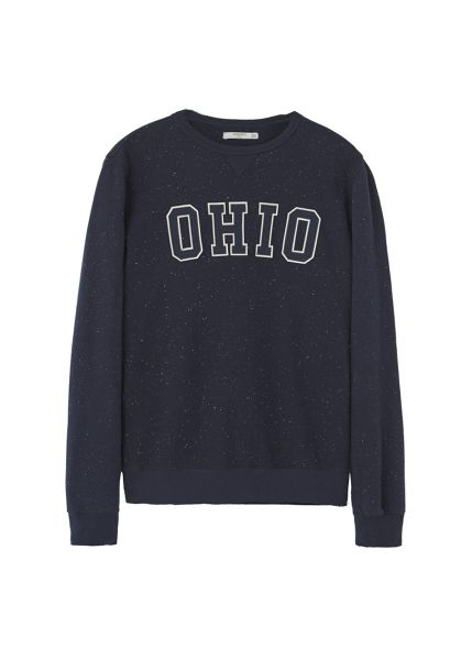 Mango Embossed text flecked sweatshirt