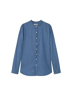 Regular-fit printed chambray shirt