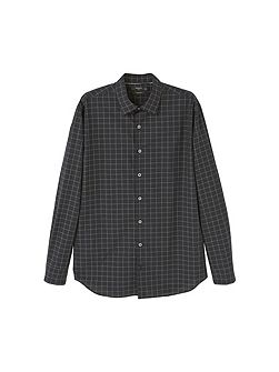 Slim-fit windowpane check shirt