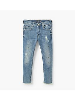 Girls Ripped details slim-fit jeans