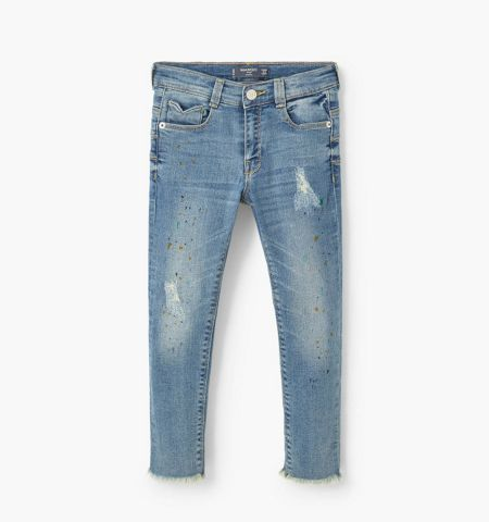 Mango Girls Ripped details slim-fit jeans