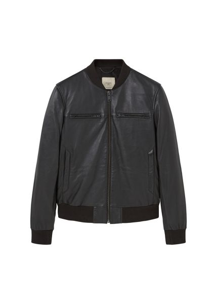 Mango Leather bomber jacket