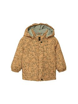 Bear-Print Quilted Coat