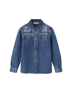 Boys Embroidered denim shirt