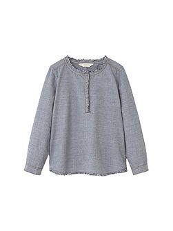 Girls Contrasting cotton-blend shirt