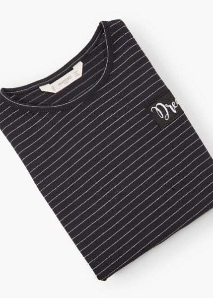 Mango Girls Embroidery striped t-shirt