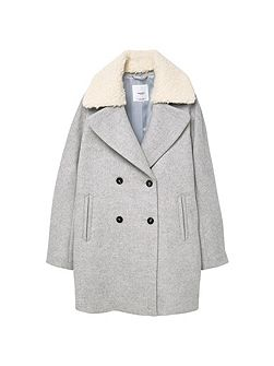 Faux-fur applique wool coat