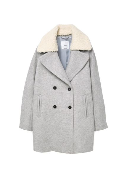 Mango Faux-fur applique wool coat