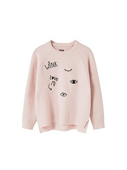 Girls Embroidered wool sweater