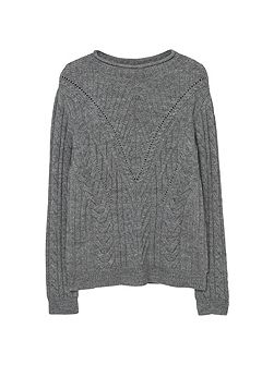 Textured panel sweater