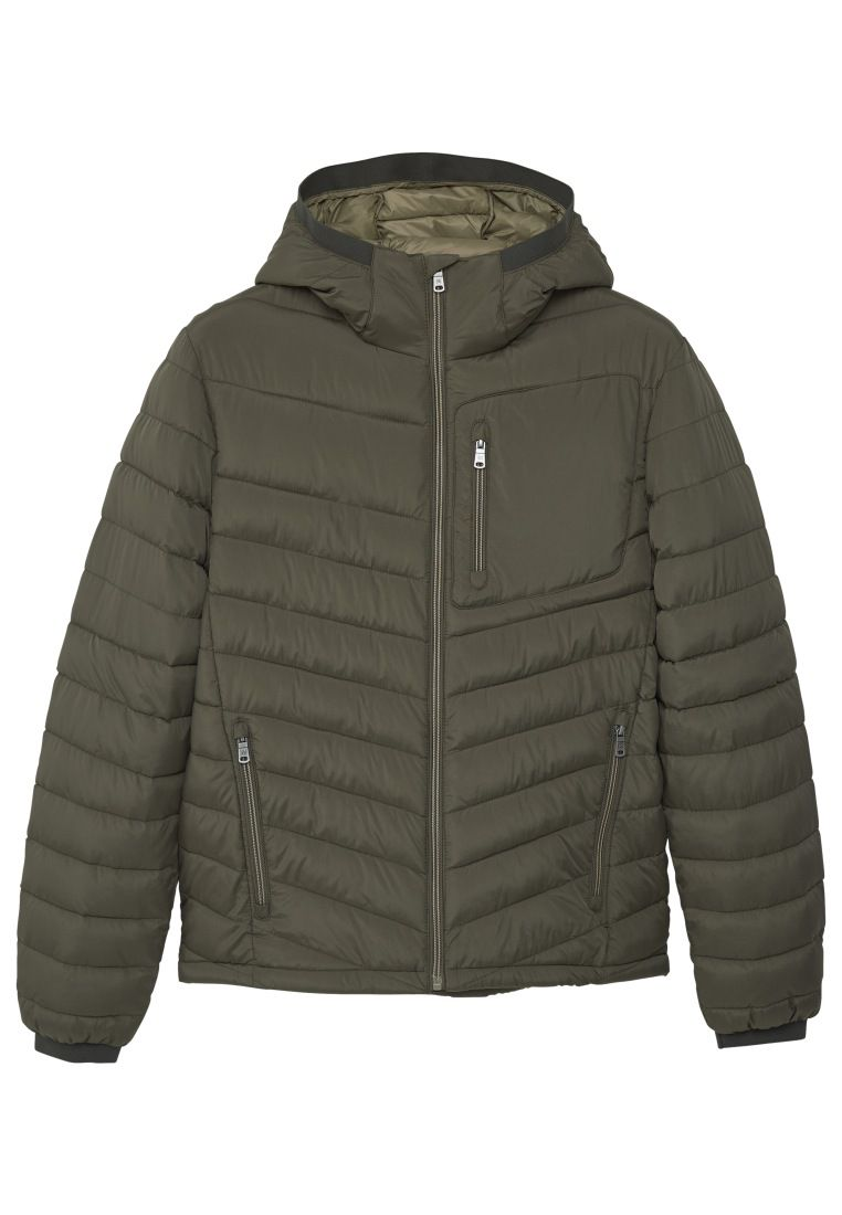 Mens Mango Sidezip quilted coat Green
