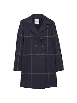 Check Wool-Blend Coat