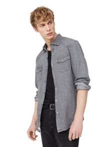 Mango Slim-fit grey denim shirt