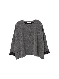 Metal-thread linen-blend sweater