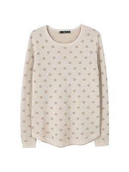 Polka-Dot Cotton-Blend Sweater