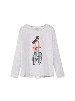 Girls Print flecked t-shirt