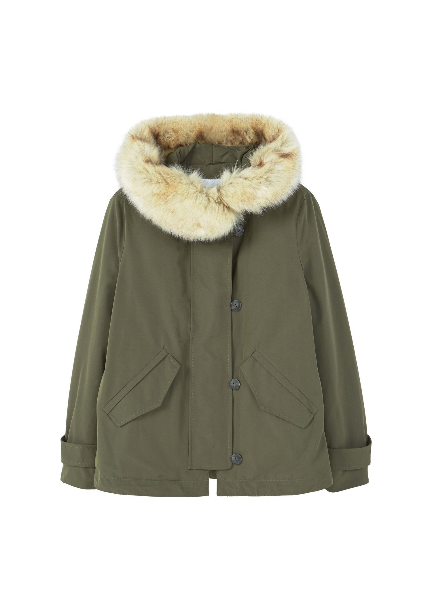 Mango FauxFur Quilted Parka Green