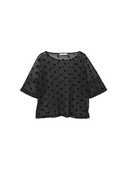 Hearts Print Tulled T-Shirt
