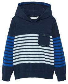 Mango Boys Striped hooded knit sweater