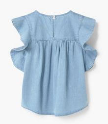 Mango Girls Denim Frilled Top