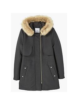 Faux Fur Applique Quilted Parka
