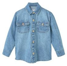 Mango Baby Chest-pocket denim shirt