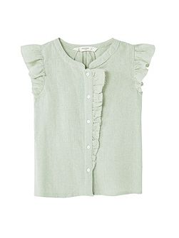 Girls Ruffled cotton shirt