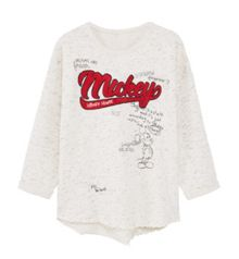 Mango Girls Flecked Mickey Mouse sweatshirt