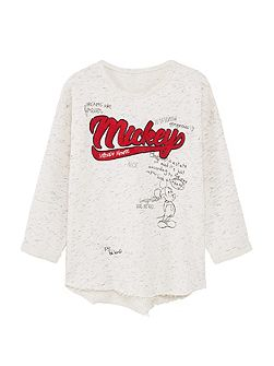 Girls Flecked Mickey Mouse sweatshirt