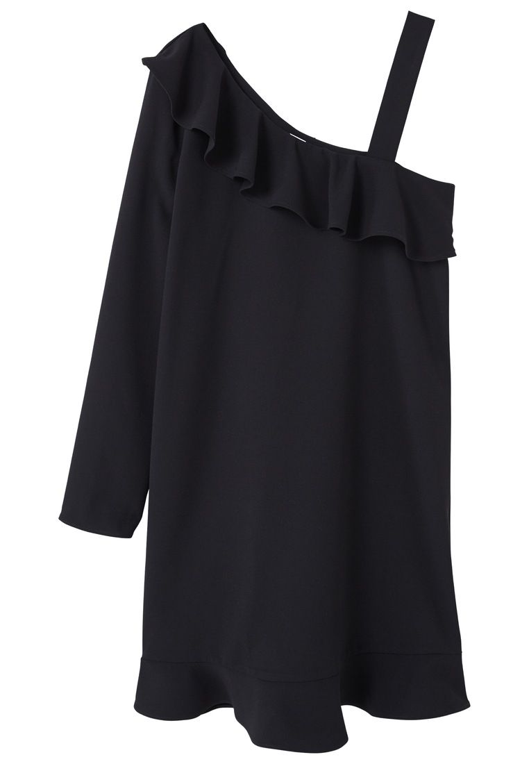 Mango Asymmetric neckline dress Black