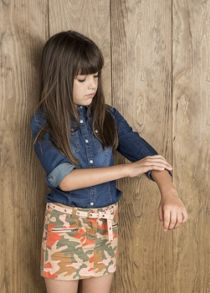 Girls camo denim skirt