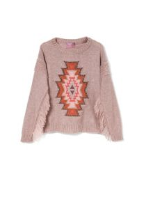 Girls fringed wool-blend sweater