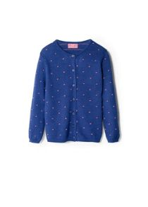 Girls Embossed Polka-Dot Cardigan