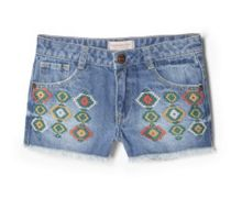 Girls Ethnic Denim Shorts