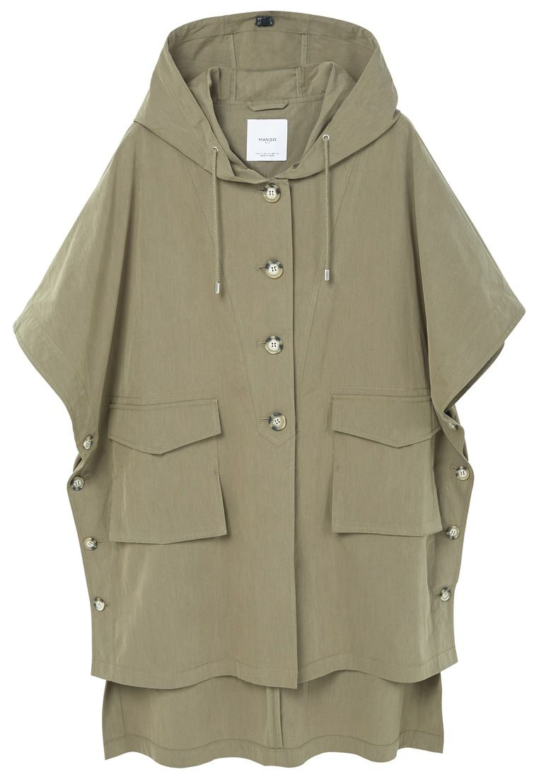 Mango Hooded Cotton Parka, Green