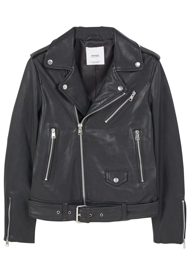 Mango Leather Biker Jacket, Black