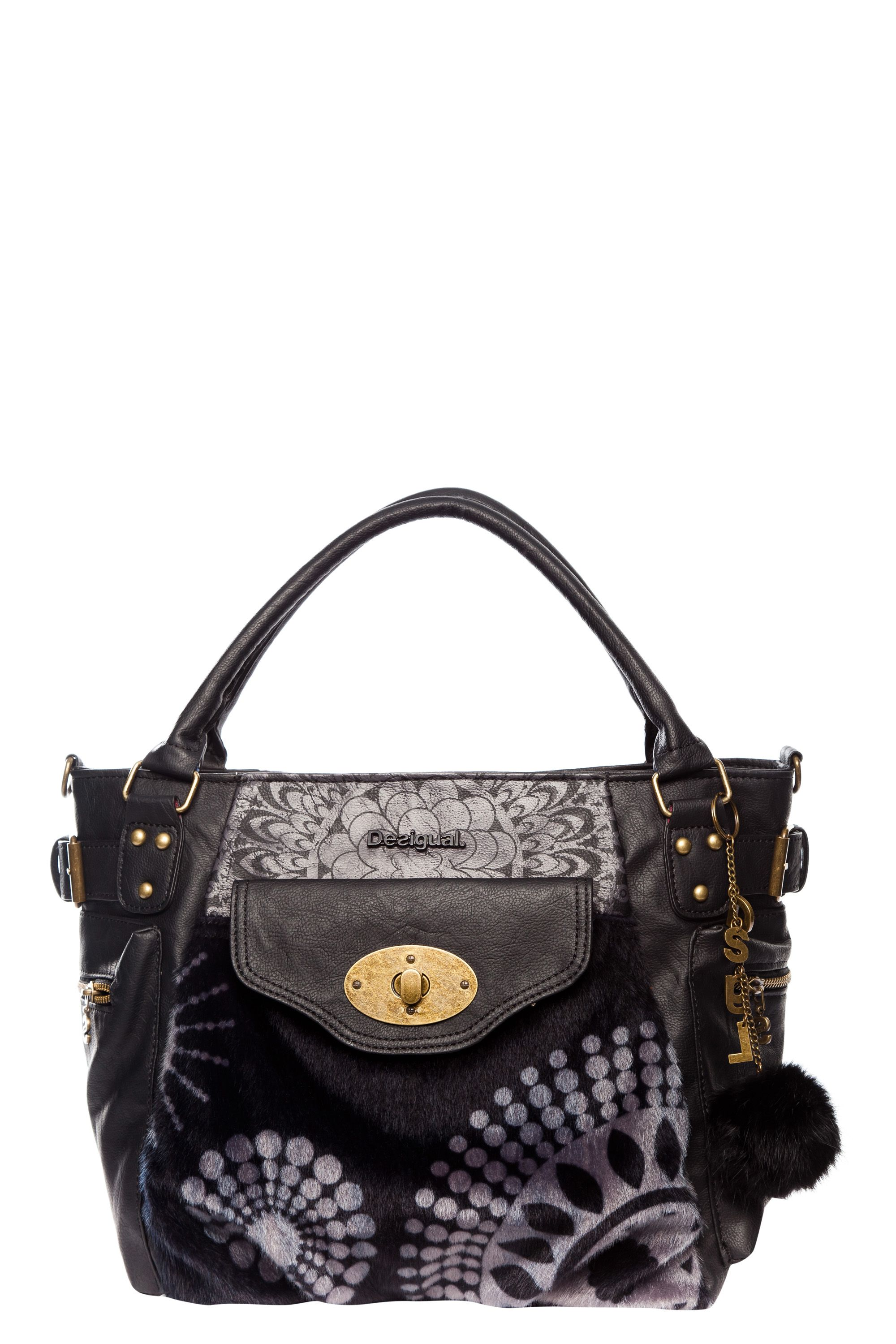 Printed faux fur handbag