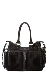 Printed faux fur shoulder bag