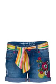 Girls colorful belt short jeans
