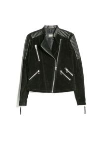 Mixed leather biker jacket