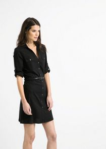 Belted waist shirt dress